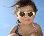 Amelie in Yellow Sunglasses at Puerto Rican Beach